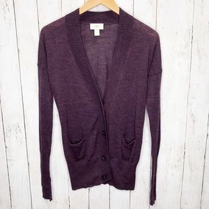 LOFT Plum Wool Blend V Neck Cardigan Sz S